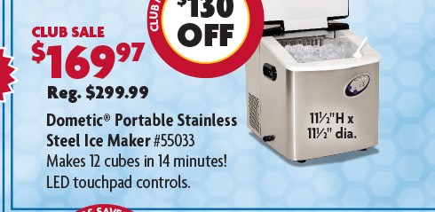 Dometic Portable Stainless Steel Ice Maker