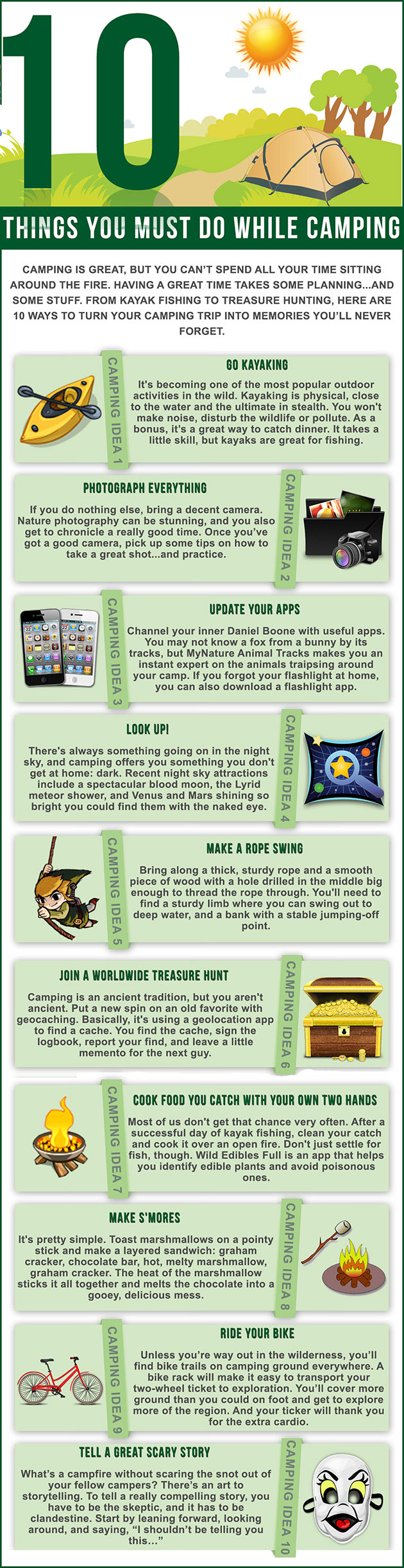Camping infographic - 10 things you must do while camping