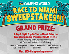 Race to Miami sweepstakes provided by Camping World & Freedom Roads