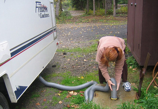 How to empty rv holding tank