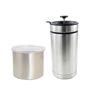 Desk Press French Press Mug and 4&quot&#x3b; Airscape, Brushed Steel