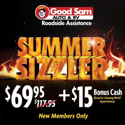 1 Year of Good Sam Roadside Assistance PLUS $15 Bonus Cash