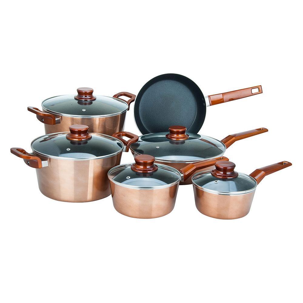 Alpine cuisine 11 piece aluminum copper metallic cookware for Alpine cuisine cookware set