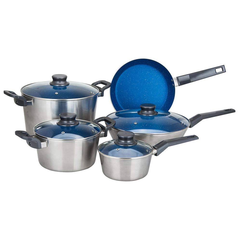 Alpine cuisine 9 piece aluminum cookware set aramco for Alpine cuisine ceramic cookware