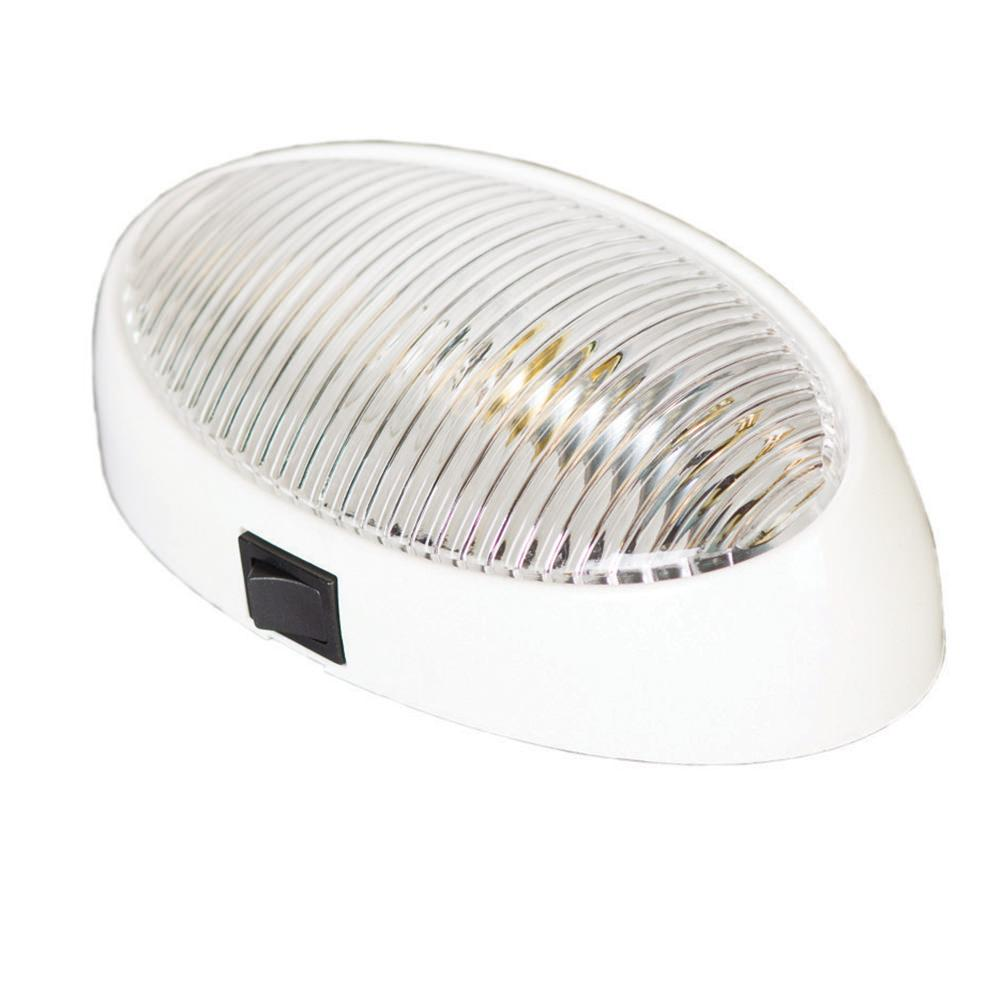 Porch Light Bulb Replacement: RV Porch Light, Oval White With Clear Lens With On/Off