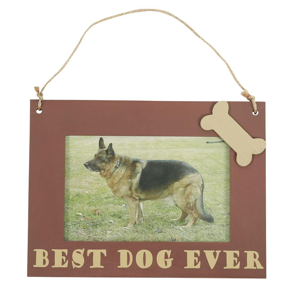 Pet picture frame hanging 6 x 8 brown best dog ever jeuxipadfo Images