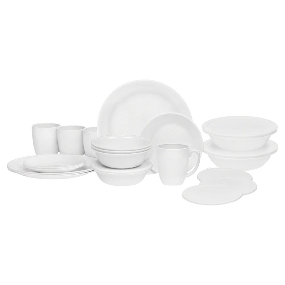 scroll previous image  sc 1 st  C&ing World & Corelle ® Livingware ™ 24-piece Dinnerware Set Winter Frost White ...