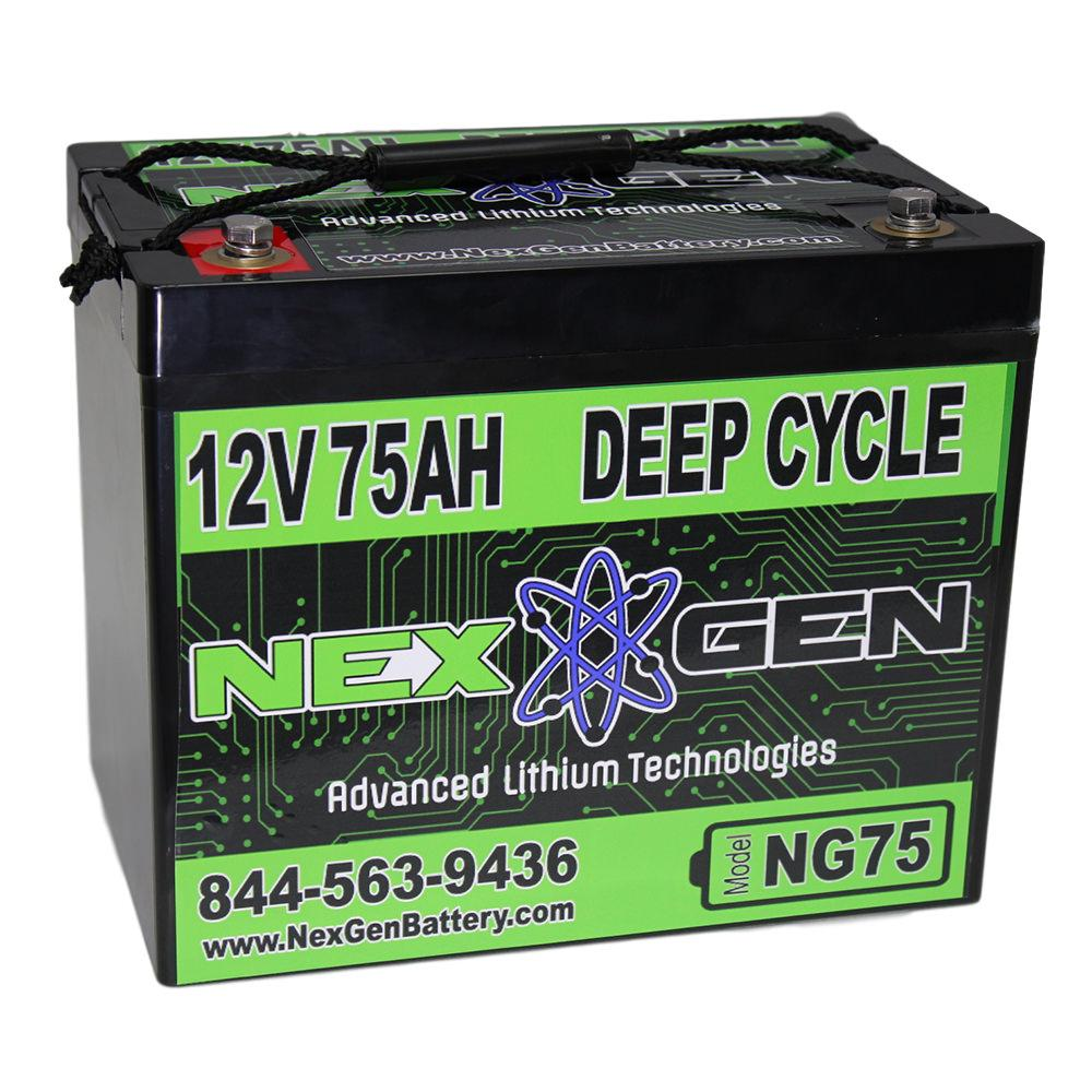 nexgen 12v lithium ion battery 12v 75ah replacement. Black Bedroom Furniture Sets. Home Design Ideas