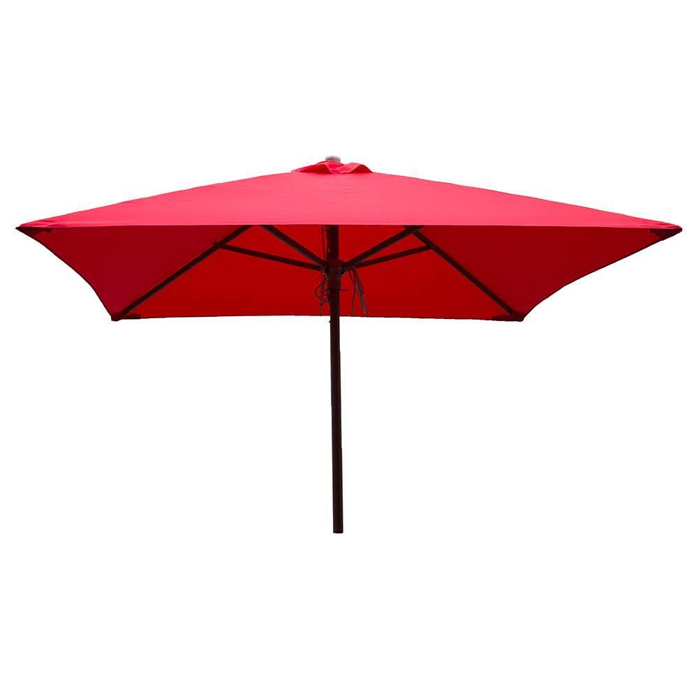 Classic Wood Square Patio Umbrella   Red, 6.5 ...