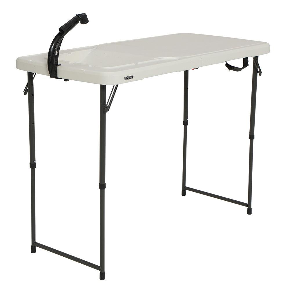 ... Lifetime 4u0027 Fold In Half Adjustable Height Outdoorsman Table ...