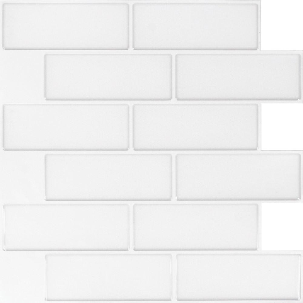 Peel and Stick Mosaic Wall Tiles, White Mountain Subway- 5 Pack ...