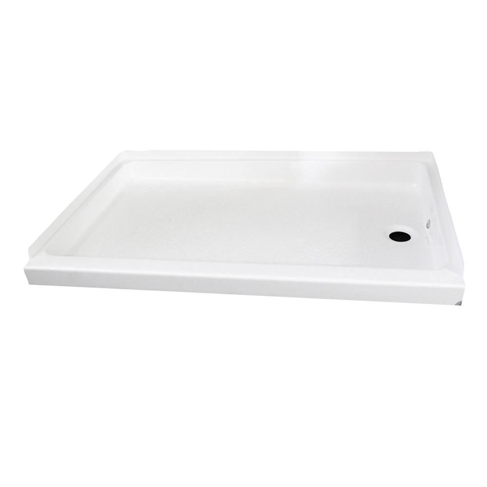 "ABS Shower Pan, 24"" x 32"" x 4 3/8"", White with Right Drain ..."