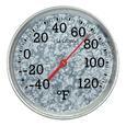 "Galvanized Metal 8"" Round Thermometer"