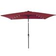 Umbrella with LED Light and USB, Burgundy, 6.5' x 10'