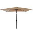 Umbrella with LED Light and USB, Tan, 6.5' x 10'
