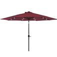 Solar Power Umbrella with LED Light, Burgundy, 10' x 10'