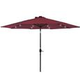 Solar Power Umbrella with LED Light and USB, Burgundy, 10' x 10'