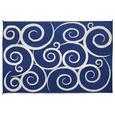 Reversible Swirl Design Patio Mat, 8' x 16', Navy/Cream