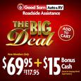 1 Year of Good Sam Roadside Assistance <font color=red>PLUS $15 Bonus Cash</a></font>