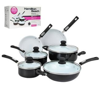Hamilton Beach 10 Piece Aluminum Cookware Set, Black and White