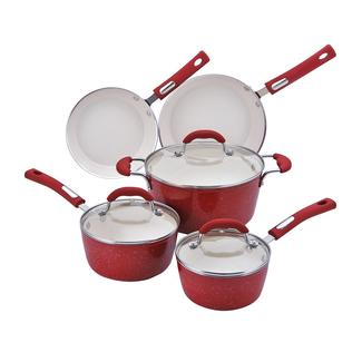 Hamilton Beach 8 Piece Speckled Aluminum Cookware Set, Red
