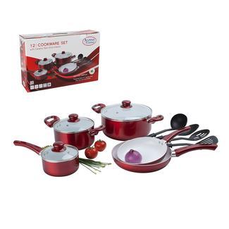 Alpine Cuisine 12 Piece Ceramic Coating Aluminum Cookware Set