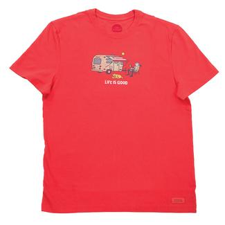 Life is Good Men's Airstream Americana Crusher Tee, Red, Medium