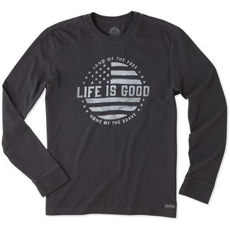 Life is Good Men's Long Sleeve Land of the Free Crusher Tee, XXLarge