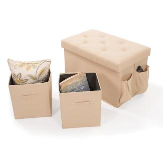 Storage Bench with 2 Cubes, Khaki