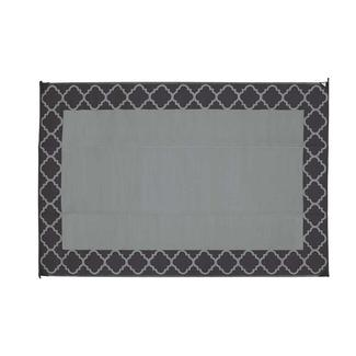 Exceptional Patio Mat, Polypropylene, Trellis Design, 9u0027x12u0027, Black/Grey