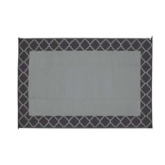 Reversible Trellis Design Patio Mat, 6' x 9', Black