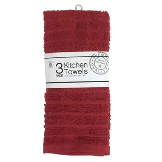 100% Cotton Kitchen Towels, Burgundy, 3-Pack