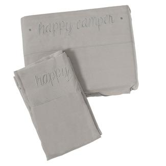 Microfiber Embroidered Sheet Set Gray, Happy Camper, Queen