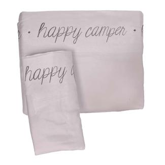 Microfiber Embroidered Sheet Set Gray, Happy Camper, Full