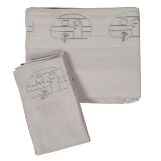 Microfiber Embroidered Sheet Set, Gray, Vintage RV Design, Short Queen