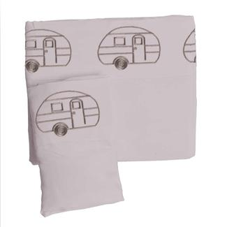 Microfiber Embroidered Sheet Set, Gray, Vintage RV Design, Full