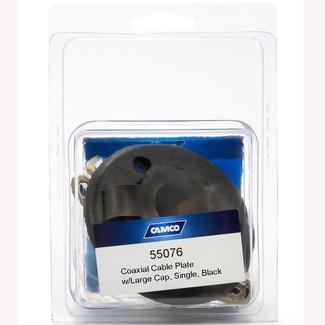 Camco Large Cap Coaxial Cable Plate, Single, Black