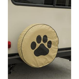Vinyl Spare Tire Cover, Tan Paw, 27""