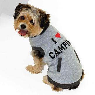 I Love Camping Pet Tee Shirt, Gray, Large