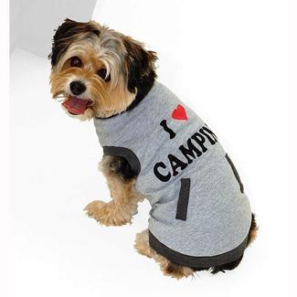 I Love Camping Pet Tee Shirt, Gray, Small