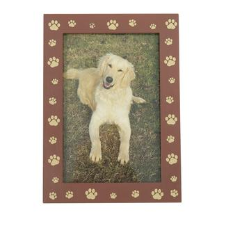 "Pet Picture Frame, Tabletop, 5"" x 7"", Brown Pawprint"