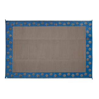 Patio Mat, Polypropylene, Paw Print Design, 6'x9', Denim Blue/Mocha