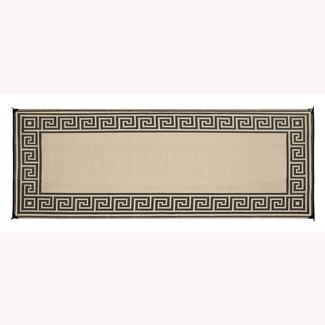 Reversible Greek Design Patio Mat, 8' x 16', Stone
