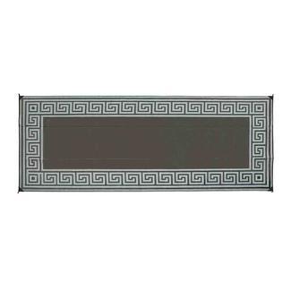 Reversible Greek Design Patio Mats, 8' x 16', Black