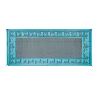 Reversible Greek Design Patio Mat, 8' x 16', Teal