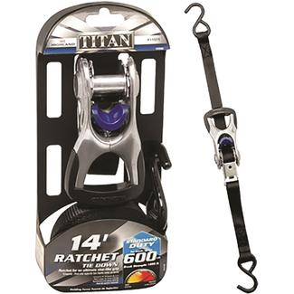 "Titan Ratchet Tie Down, 1"" x 14', 1800 lbs., Single"