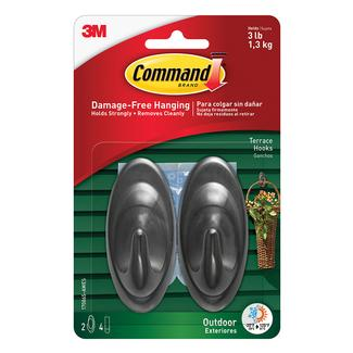 Command™ Outdoor Hooks, 2 hooks, 4 strips