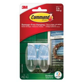 Command™ Outdoor Window Hooks, 2 hooks, 4 strips