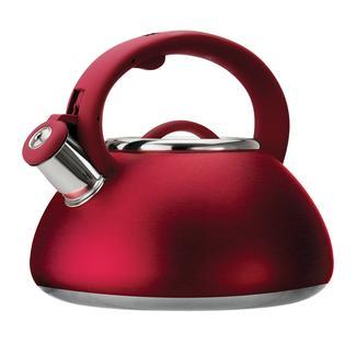 Stainless Steel Whistling Kettle, 2.5 Quart, Matte Red