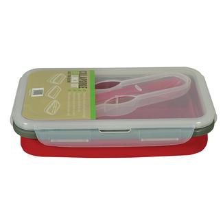 Collapsible Eco Lunch Kit with Spork Utensil - Red